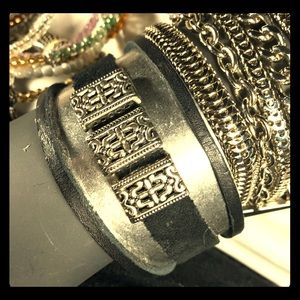 Silver with Black Leather Cuff
